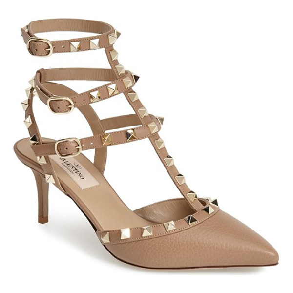 VALENTINO rockstud leather t-strap pump - Valentino's iconic pyramid studs spike the caged straps of...