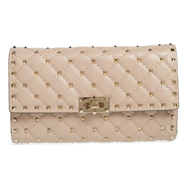 VALENTINO rockstud matelasse quilted leather shoulder bag - Micro pyramid studs spike the meticulous matelasse quilting...