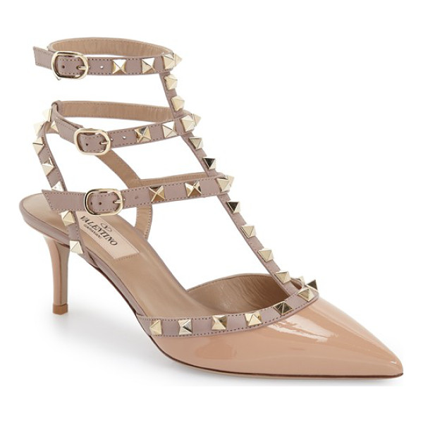 VALENTINO rockstud pointy toe pump - Signature rockstuds glint on the caged triple straps of an...