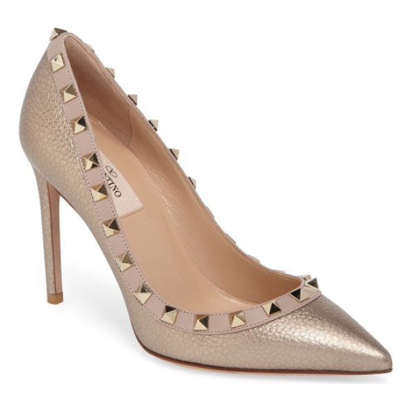 VALENTINO rockstud pointy toe pump - Signature pyramid rockstuds tracing the topline add edgy...