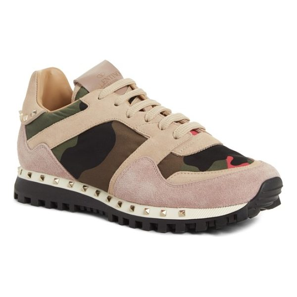 VALENTINO rockstud sneaker - An unexpected mix of camo print, velvet and signature...