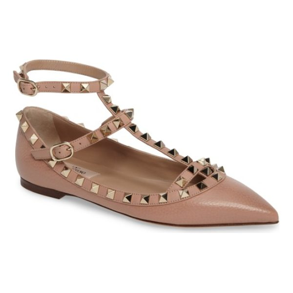 VALENTINO rockstud t-strap flat - Polished rockstuds bring signature dimension and glimmer to...