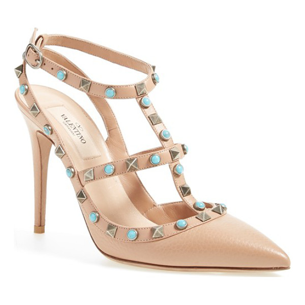 VALENTINO rockstud t-strap pump - Bold turquoise-hued cabochons are patterned between...