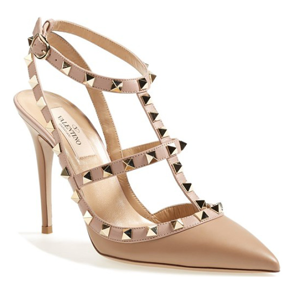 VALENTINO rockstud t-strap pump - The iconic Rockstud pump steps out in a warmly hued neutral...