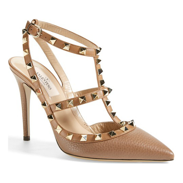 VALENTINO rockstud t-strap pump - Pyramid studs boldly decorate a pointy-toe pump shaped from...