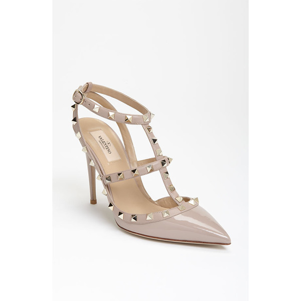 VALENTINO rockstud t-strap pump - Signature pyramid studs trace the caged topline of a...