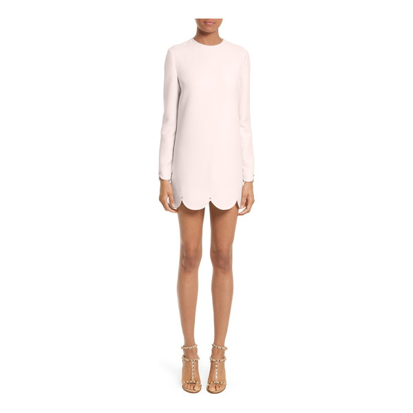 VALENTINO scallop hem wool & silk shift dress - Beautifully tailored and playfully short, this luxe...