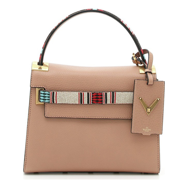 VALENTINO Small my rockstud beaded leather satchel - Handbags featuring statement handles and embellishments...