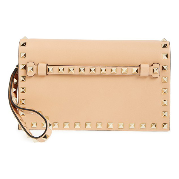 VALENTINO Small rockstud leather flap clutch - Whether you want to add an opulent edge to casual daywear...