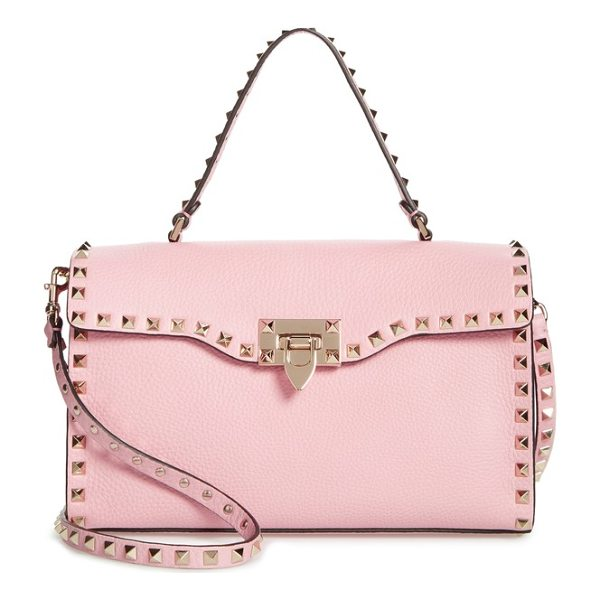 VALENTINO small rockstud leather single handle shoulder bag - Signature pyramid studs highlight the structured silhouette...