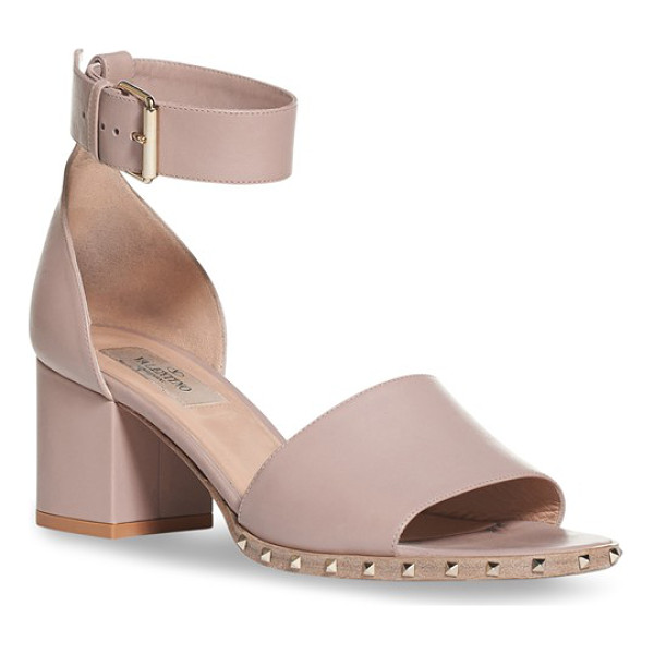 VALENTINO 'soul stud' block heel sandal - Tiny pyramid studs gleam at the sole of a refined,