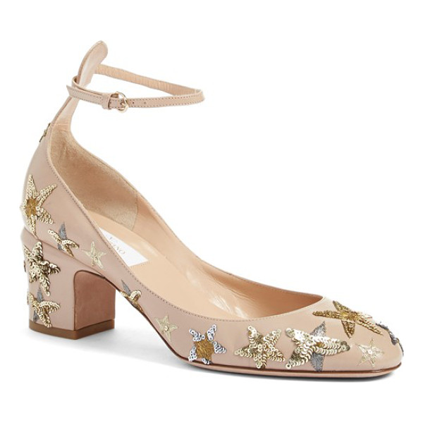 VALENTINO tango star studded ankle strap pump - A constellation of shimmering, sequined stars illuminates...