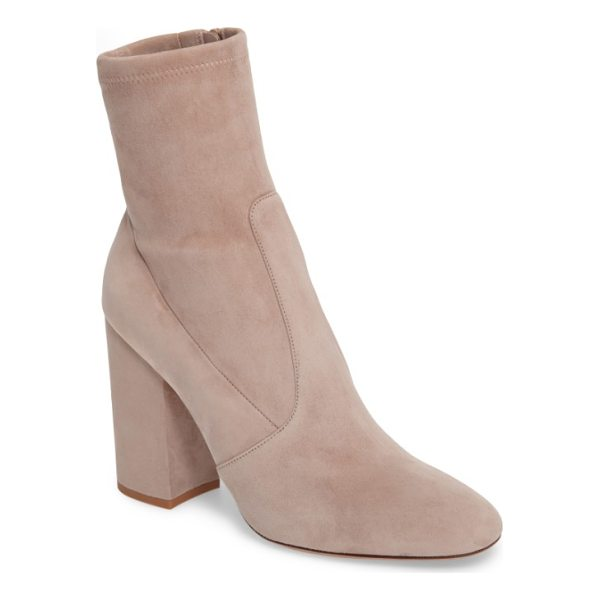 VALENTINO stretch suede bootie - A sculptural block heel grounds a stylish bootie crafted in