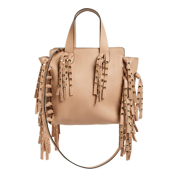VALENTINO Studded fringe leather tote - A perfect balance of rocker-glam and uptown luxe, this...