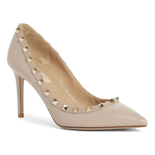 VALENTINO rockstud pointy toe pump - Signature pyramid studs trace the chic silhouette of a...