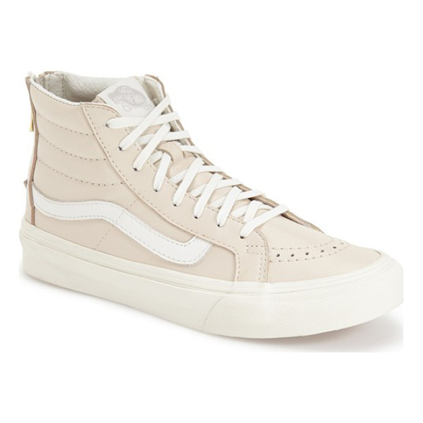 VANS sk8-hi slim high top sneaker - A goldtone zipper in back offers slip-on-and-off ease on...