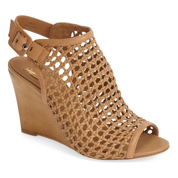 VC SIGNATURE cleone woven leather peep toe wedge sandal - Woven leather styles this sophisticated peep toe set on a...