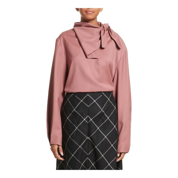 VEJAS handkerchief tie wool gabardine top - Inverted pleats add subtle structure to the sleeves of a...