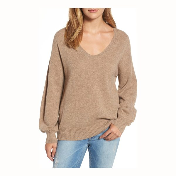 VELVET BY GRAHAM & SPENCER blouson sleeve cashmere sweater - A cashmere sweater features an easy scooped neck that...