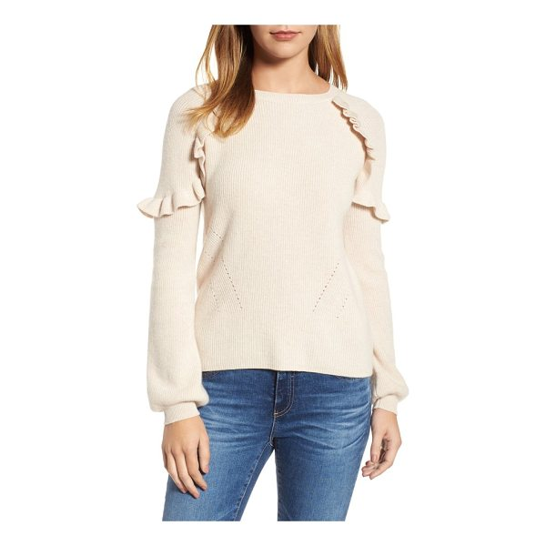 VELVET BY GRAHAM & SPENCER cashmere ruffle shoulder sweater - Fluttering ruffles circle the shoulders of this finely knit...