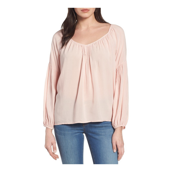 VELVET BY GRAHAM & SPENCER challis peasant blouse - Soft challis fabric brings easy drape to a pretty pleated...