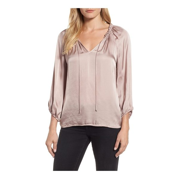 VELVET BY GRAHAM & SPENCER tie neck satin blouse - A gently billowed peasant blouse with slender ties hanging...
