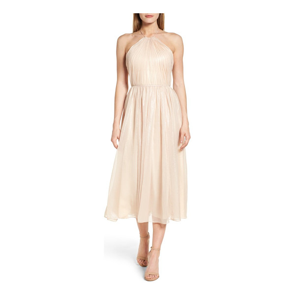 VERA WANG chiffon midi dress - Bodice-sculpting gathers bring out the charming shimmer of...
