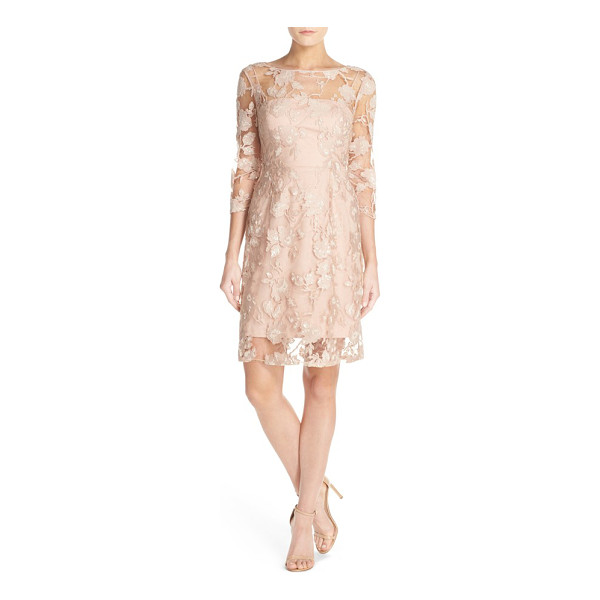 VERA WANG sequin embroidered lace a-line dress - Sequined, embroidered lace veils a soft-pink slipdress...