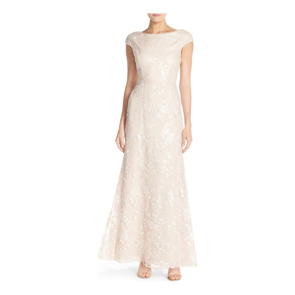 VERA WANG sequin embroidered lace gown - Sequined embroidery veils a soft-pink gown classically cut...