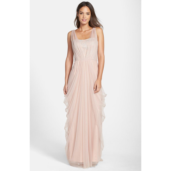 VERA WANG sleeveless chiffon gown - Silvery floral detailing shimmers through the gracefully...