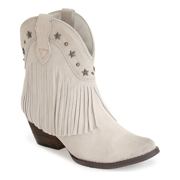 VERY VOLATILE deerwood fringe western boot - Weathered star and dome studs accentuate the curved topline...
