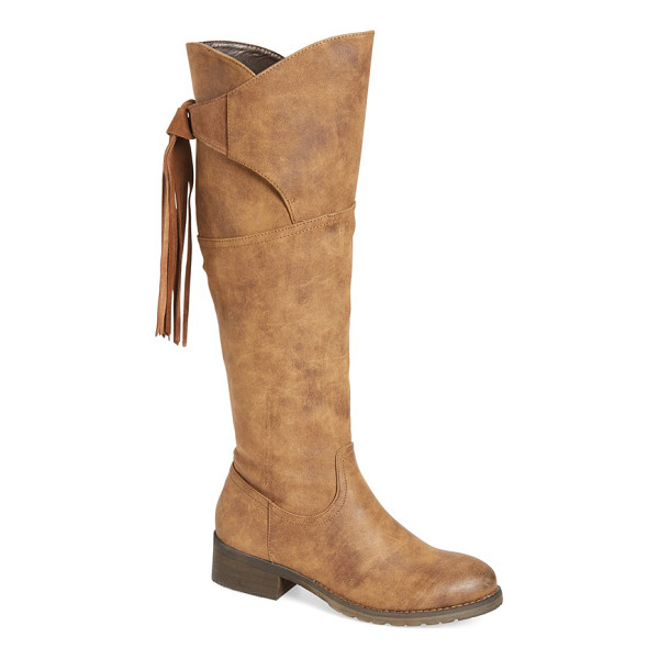 VERY VOLATILE 'geneva' fringe boot - A tall faux-leather boot is made modern thanks to a curved...