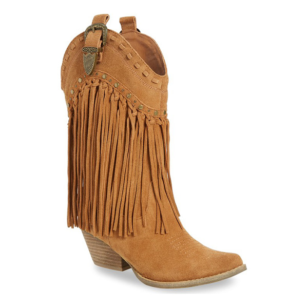 VERY VOLATILE 'wyatt' fringe western boot - Elaborate stitching, polished studs and swingy fringe make...
