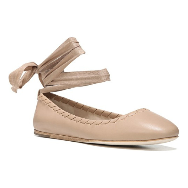 VIA SPIGA baylie tie ballet flat - Wrap-around laces at the ankle and whipstitched trim update