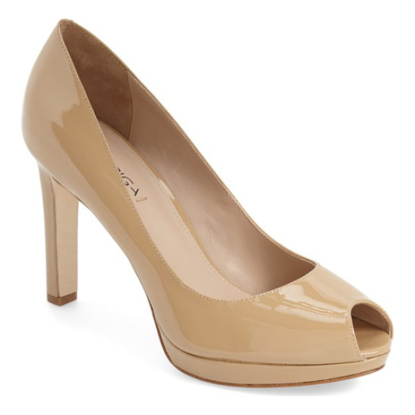 VIA SPIGA 'brandy' peep toe pump - A svelte pump shaped from supple leather is fitted with a...