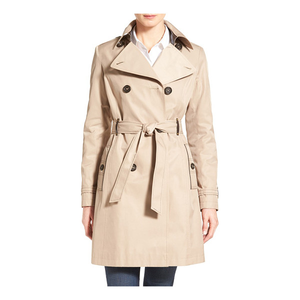 VIA SPIGA double breasted trench with faux leather trim - Luxe faux leather accents with golden grommets elevate this...