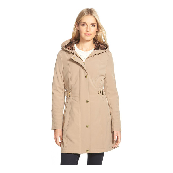 VIA SPIGA hooded soft shell coat with animal print lining - Gleaming goldtone hardware, channel-stitch detailing and an...