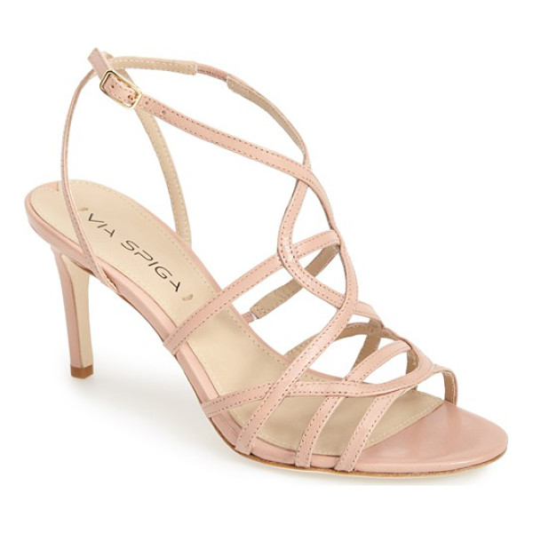 VIA SPIGA ima2 leather ankle strap sandal - Slender, overlapping straps lend a gracefully delicate look...