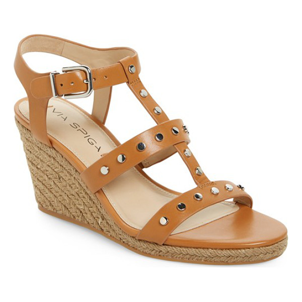VIA SPIGA indya studded wedge sandal - Gleaming studs punctuate the sultry T-strap of a chic wedge...