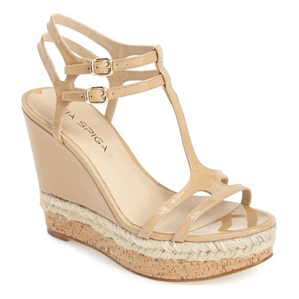 VIA SPIGA meza leather dual ankle strap platform wedge - Glossy patent leather, woven jute and cork play beautifully...
