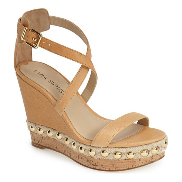 VIA SPIGA moss studded platform wedge sandal - Gleaming metallic studs highlight the rich, pebbled-leather...