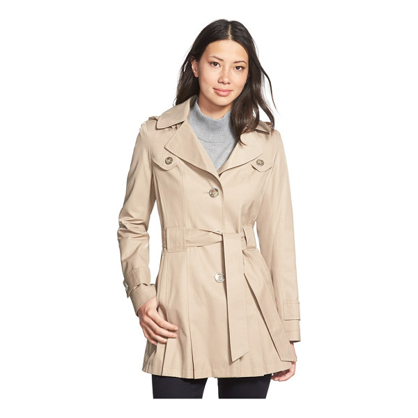 VIA SPIGA scarpa single breasted hooded trench coat - Pleats at the front and back hem add swingy style to a...