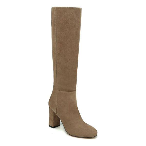 VIA SPIGA starie boot - A covered block heel lifts a sophisticated boot in a sleek,...