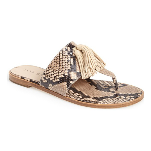 VIA SPIGA terrin snake embossed leather sandal - A go-with-anything thong sandal goes modern with...