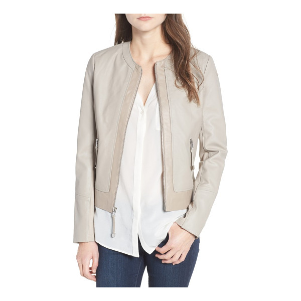 VIA SPIGA two-tone collarless leather & ponte jacket - Two-tone styling and mixed-media design create a...