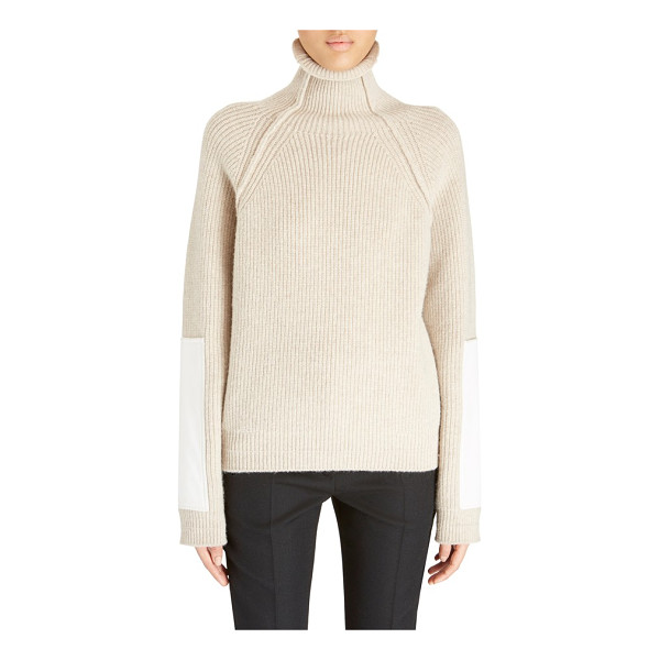 VICTORIA BECKHAM sleeve patch wool turtleneck - Oversized patches along the forearms provide modern...