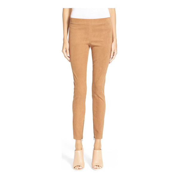 VINCE ankle zip suede leggings - Zip details at the hems update slender high-rise leggings...
