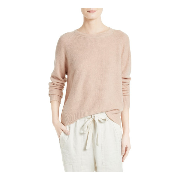VINCE boxy cashmere & linen pullover - Dropped shoulders enhance the slouchy-chic fit of a boxy...