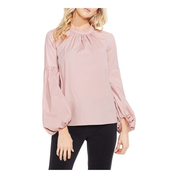 VINCE CAMUTO balloon sleeve blouse - A high ruffled neckline and gathered balloon sleeves bring...