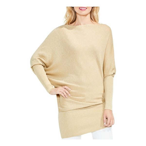 VINCE CAMUTO batwing sleeve metallic sweater - Golden glitter enriches a cozy pullover in a chic wedge...